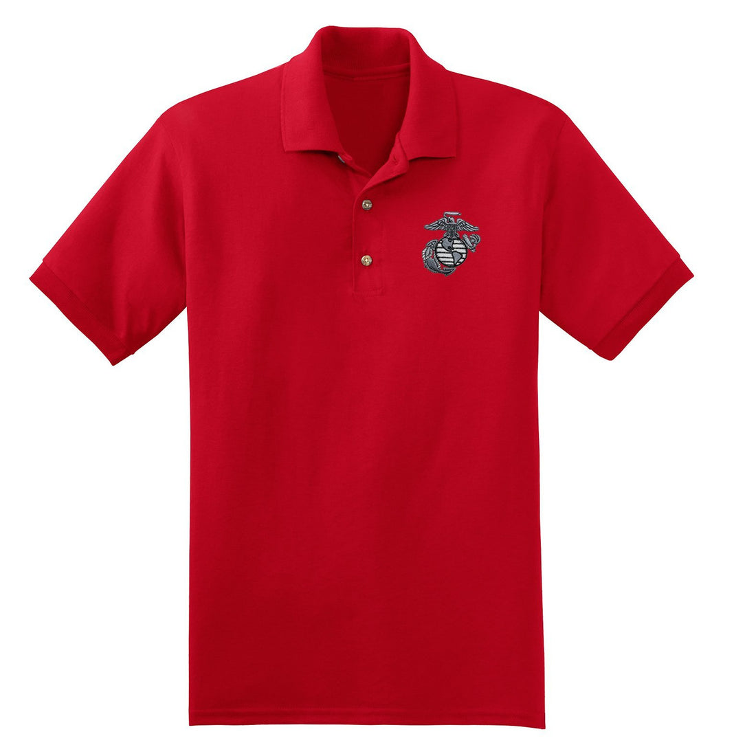 Front view of the red USMC polo shirt at Marine Corps Direct with the eagle, globe, and anchor embroidered on the top left corner.