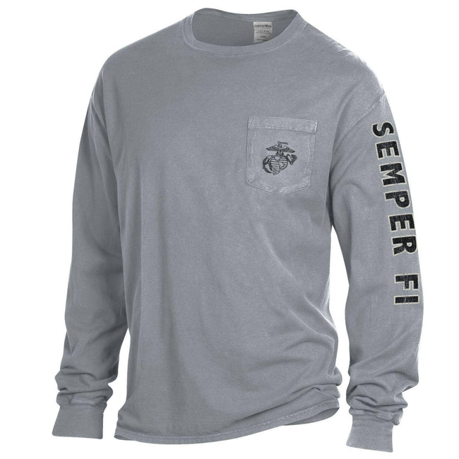 Comfort Wash Granite EGA POCKET Long Sleeved Tee with Semper Fi Sleeve Drop - Marine Corps Direct
