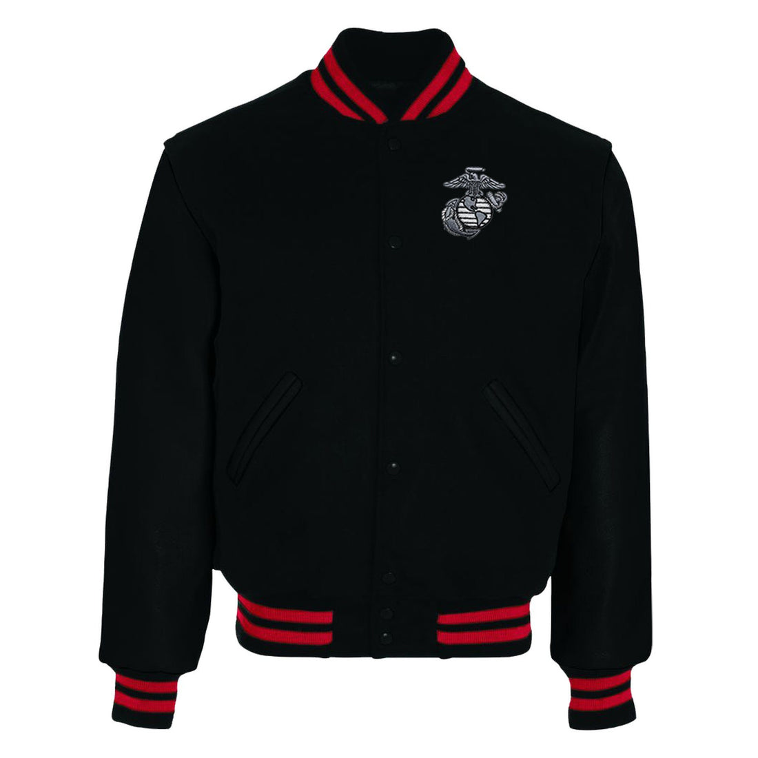 Custom USMC Varsity Jacket Black and Scarlet - Marine Corps Direct