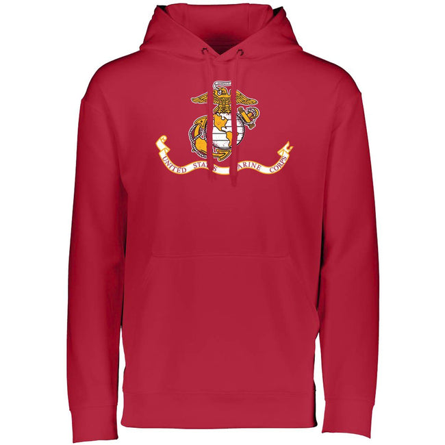 Marines Distressed Banner Augusta Performance Dri-Fit Hoodie