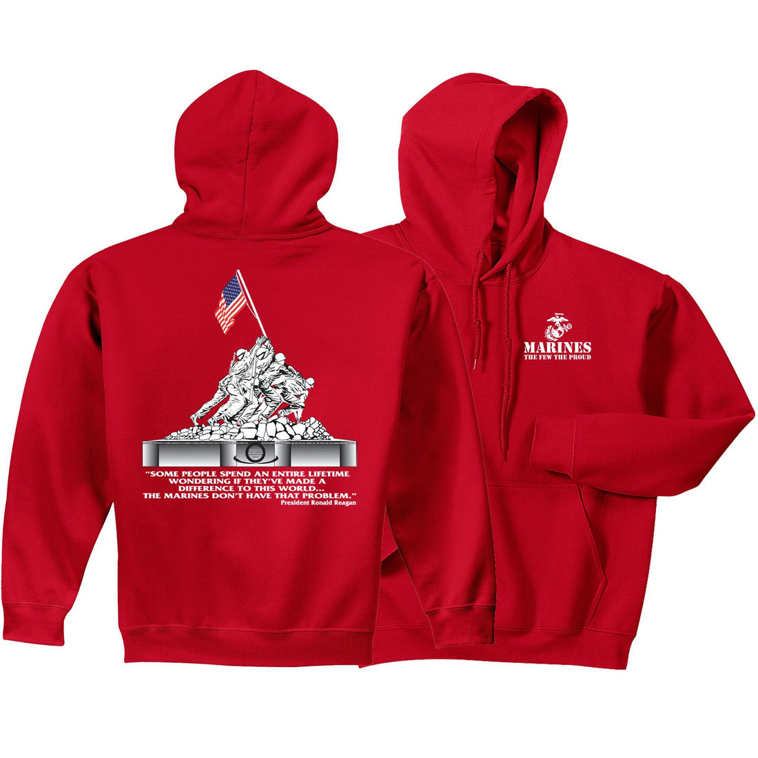 Iwo Jima Front & Back Hoodie (MULTIPLE COLORS) - Marine Corps Direct  - 2