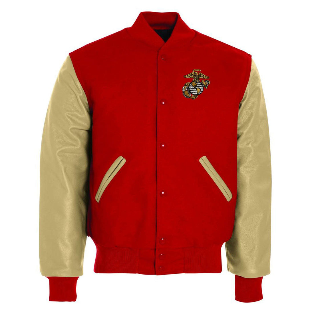 Front view of the red and cream colored USMC jacket from Marine Corps Direct with available custom embroidering.