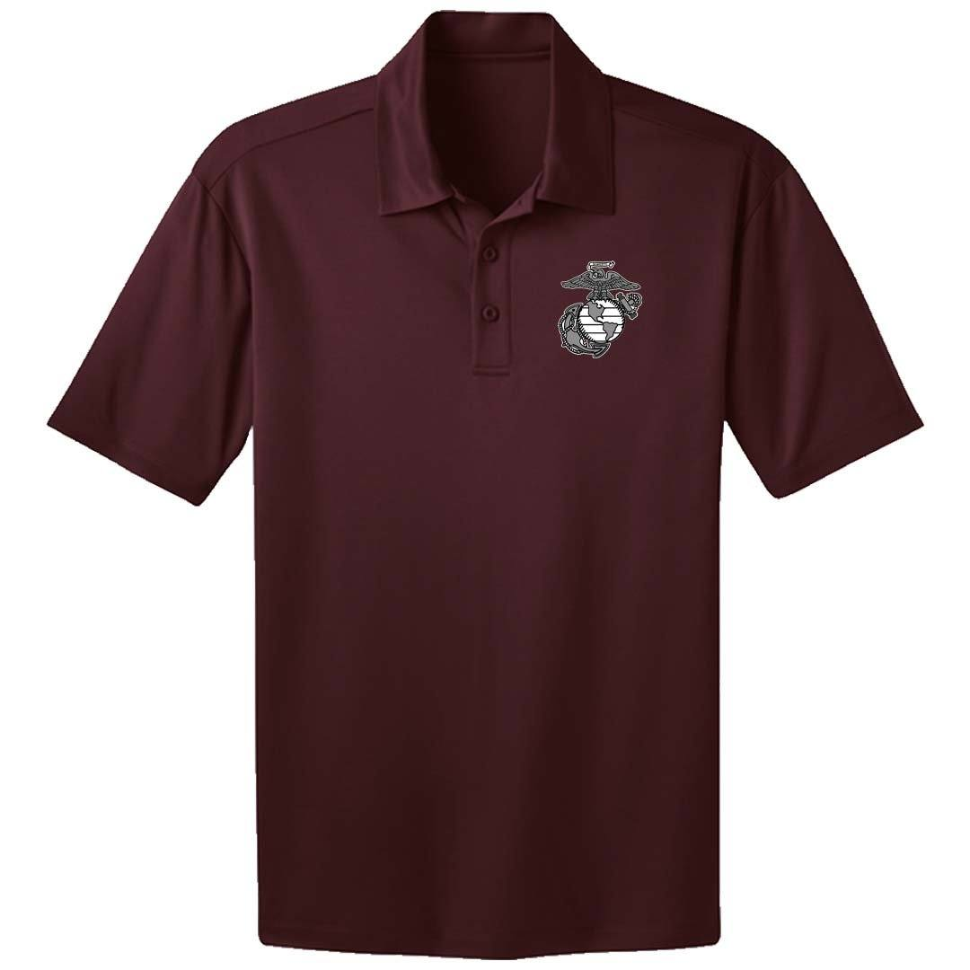 Marines EGA Screen Printed Dri-Fit Performance Polo - Marine Corps Direct