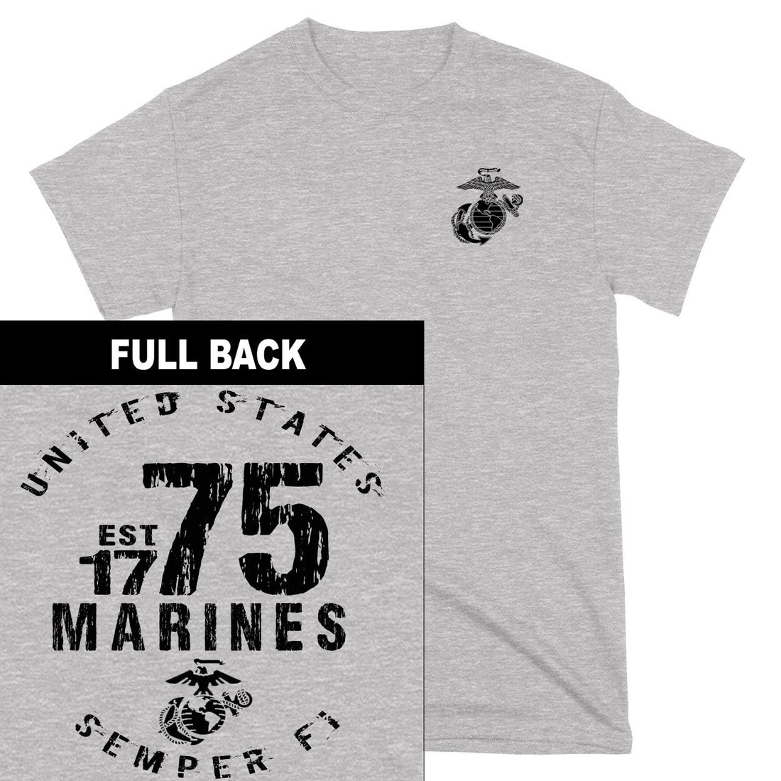 Marines Est. 75 2-Sided T-Shirt - Marine Corps Direct