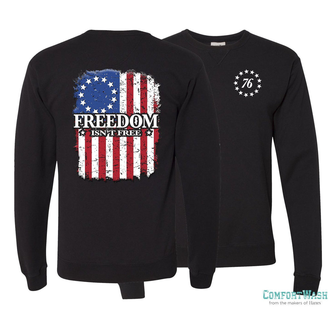 "Front and back of the granite USMC sweatshirt from Marine Corps Direct with the confederate flag on the back and the words ""Freedom isn't free"" written across it."