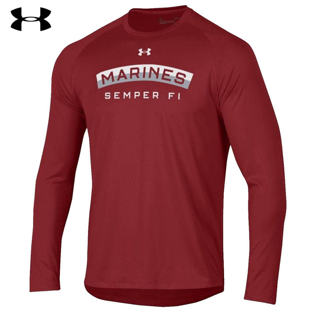 Under Armour Marine Arch Semper Fi Dri-Fit Performance Scarlet Long Sleeve Tee - Marine Corps Direct