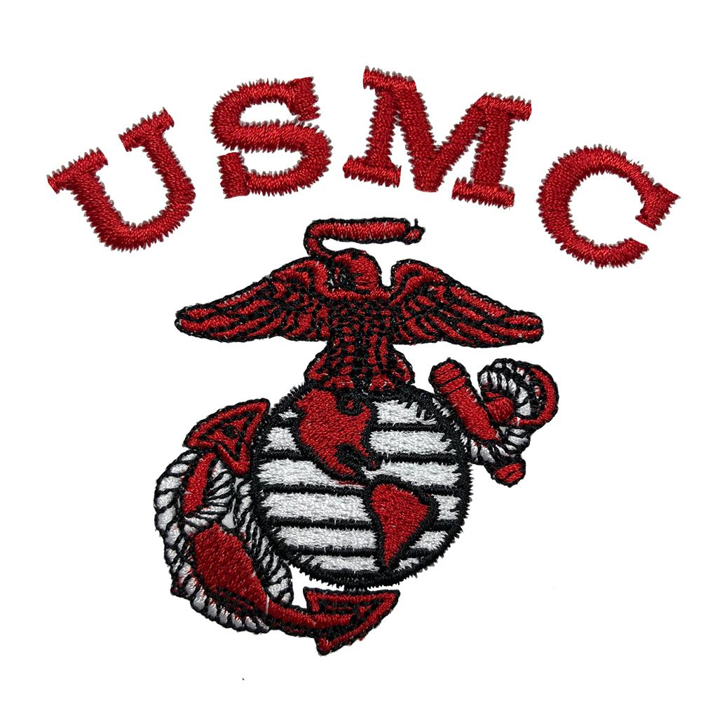 Red USMC Embroidered Zipped Hoodie