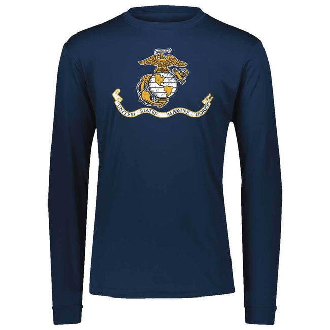 Marines Distressed Banner Performance Long Sleeve T-Shirt