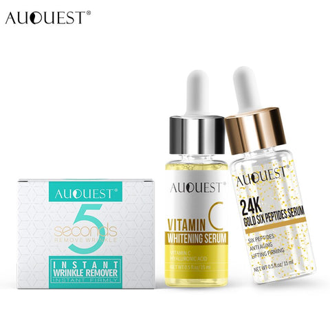 AuQuest Wrinkle-free 5 Seconds Face Cream and 24k Gold Essence Whitening Skin Vitamin C Serum Facial Sagging Skin Care