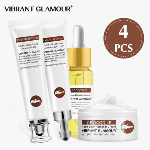 VIBRANT GLAMOUR Repair Scar Face Cream Eye Cream Serum Crocodile Set Whitening Remove Stretch Marks Skin Care Cream Anti-Aging