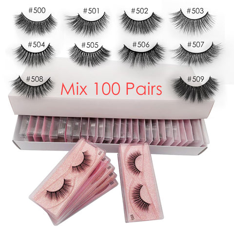 Wholesale Eyelashes 20/30/40/50/100 Pairs Mink Eyelashes Makeup Volume 3D Mink Lashes In Bulk Natural False Eyelashes