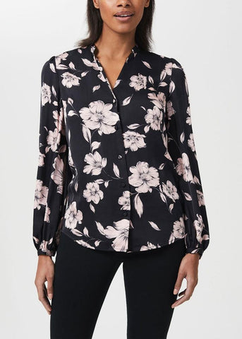 Women wearing floral top and shirt from Hobbs
