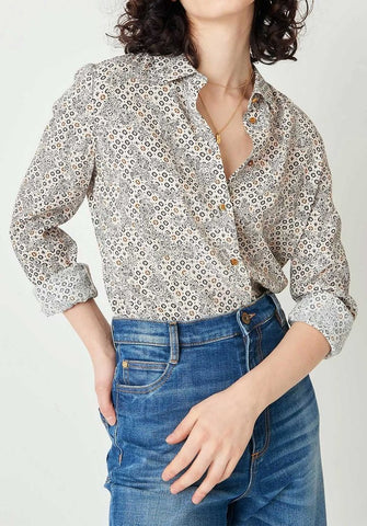 Women wearing floral top and shirt from Sessun
