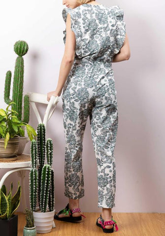 Women wearing long floral jumpsuit from Berenice