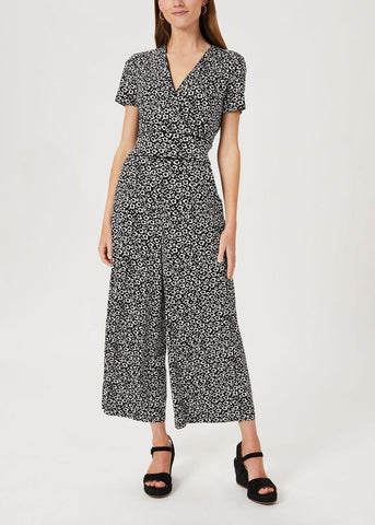 Women wearing long floral jumpsuit from Hobbs