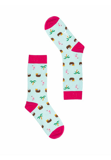 Beachy Flamingo Socks Light-Blue