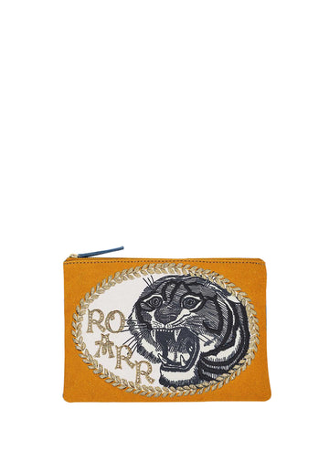 Tiger Metallic Embroidered Cotton Canvas Clutch Blue