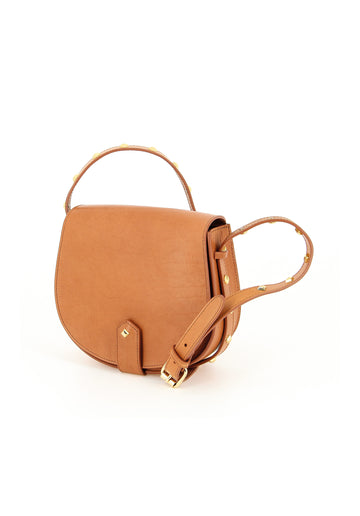 Studded Leather Shoulder Bag Camel