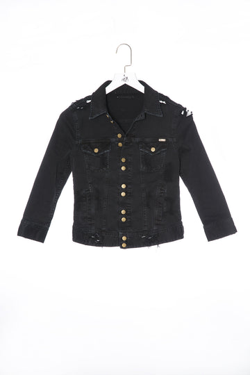 Destroy Denim Jacket Crack-Black