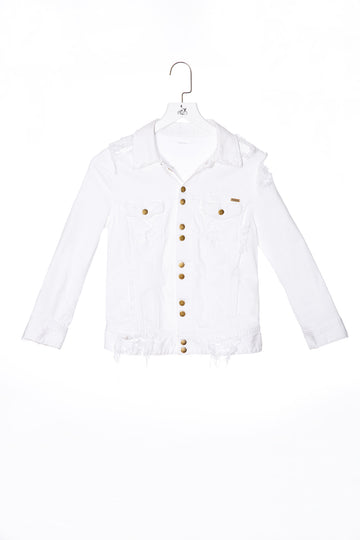Destroy Denim Jacket Crack-White