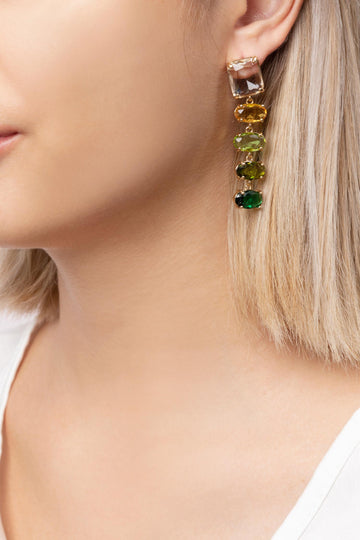 Crystal Earrings Green