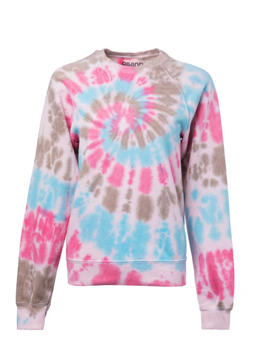 Tie-dye Cotton Blend Classic Sweatshirt B2-Blu-Grey-Pink
