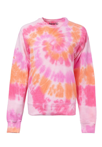 Tie-dye Cotton Blend Classic Sweatshirt Double-Pink