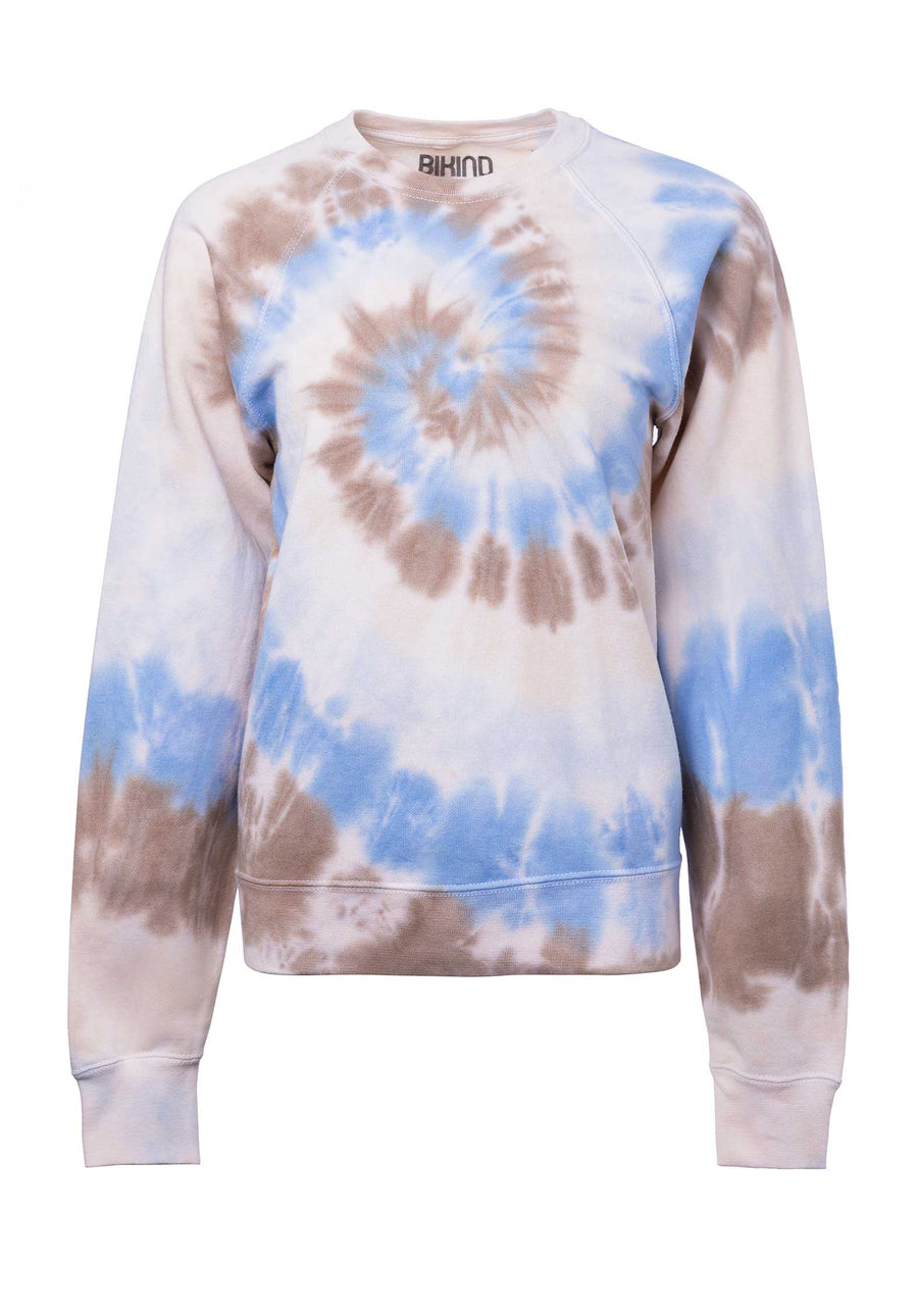Tie-dye Cotton Blend Classic Sweatshirt P1-White-Blue-Grey