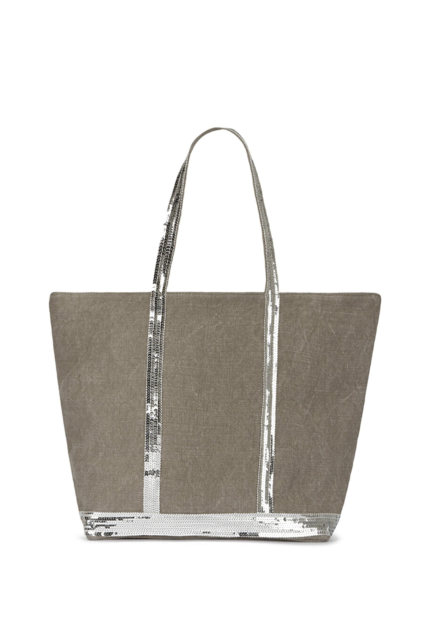 Medium+ Embellished Linen Tote Bag With Zip Calcaire