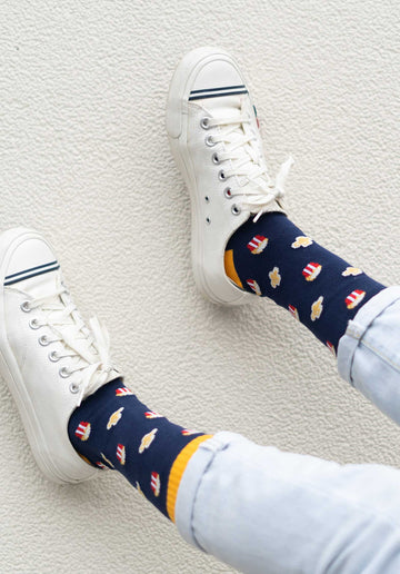 Popcorn Socks Navy