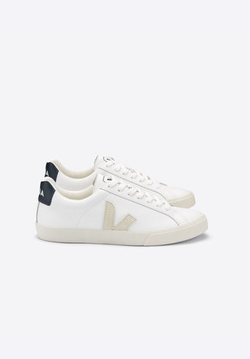 Esplar Leather Lace Up Sneakers White-Natural