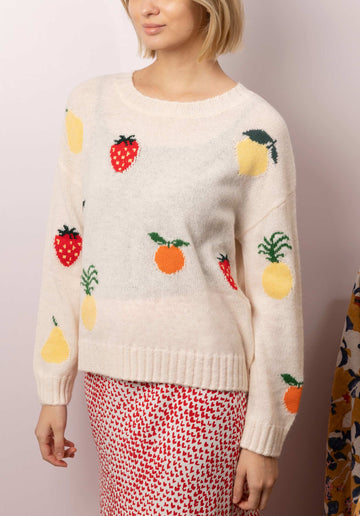 Fruit Jacquard Wool Blend Sweater