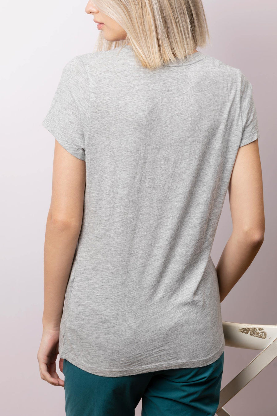 'Jacksonville' U-Neck Cotton-blend T-Shirt Gris-Chine