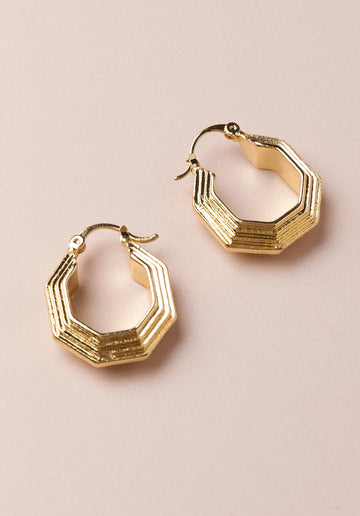 Octagon Earrings Gold
