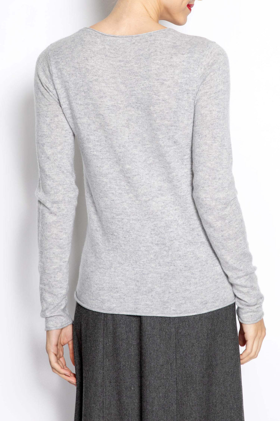 Knitted Long-sleeve Top Gris-Chine-Clair