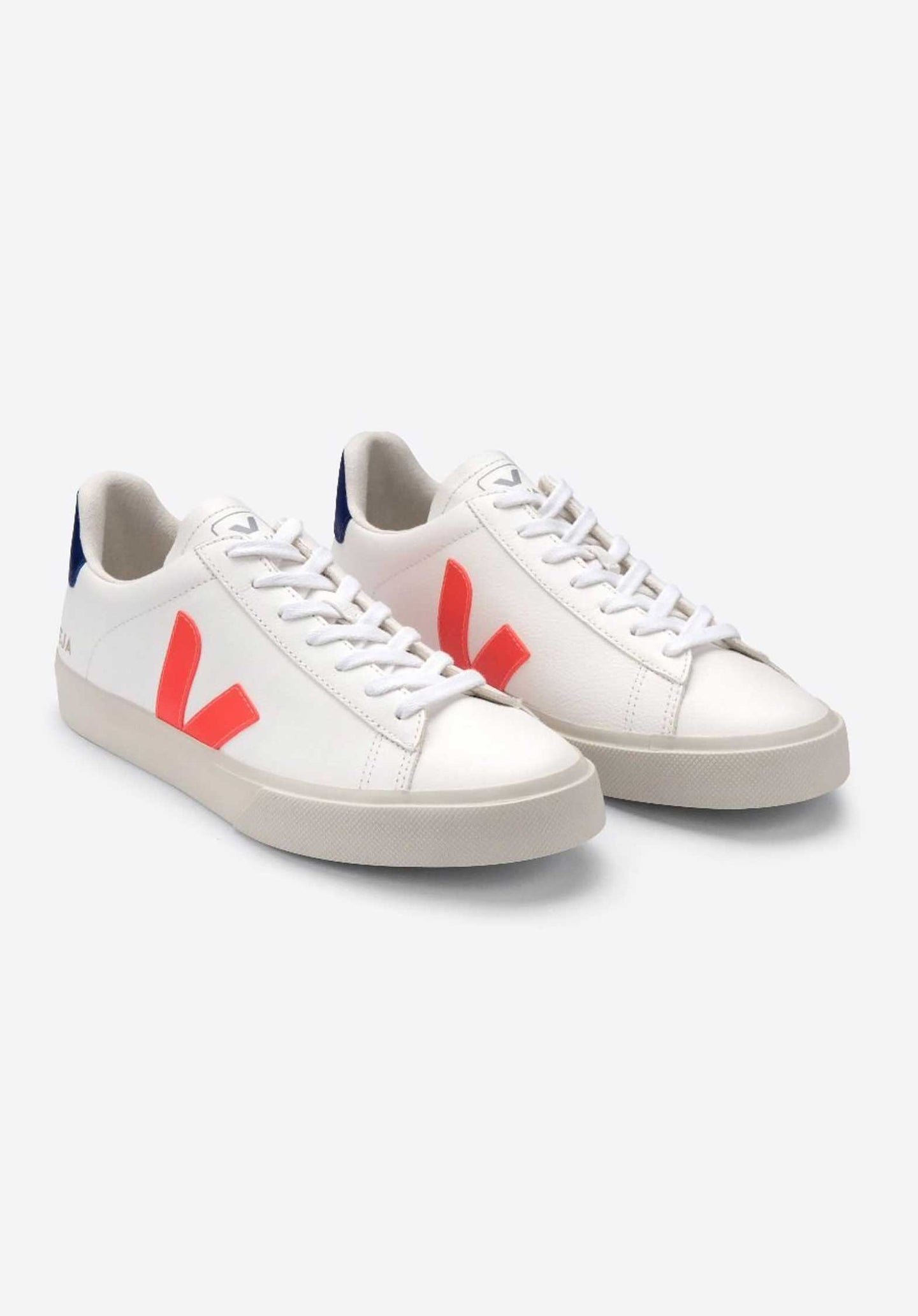 Campo Chromefree Leather Lace Up Sneakers White Orange White-Orange-Fluo-Co