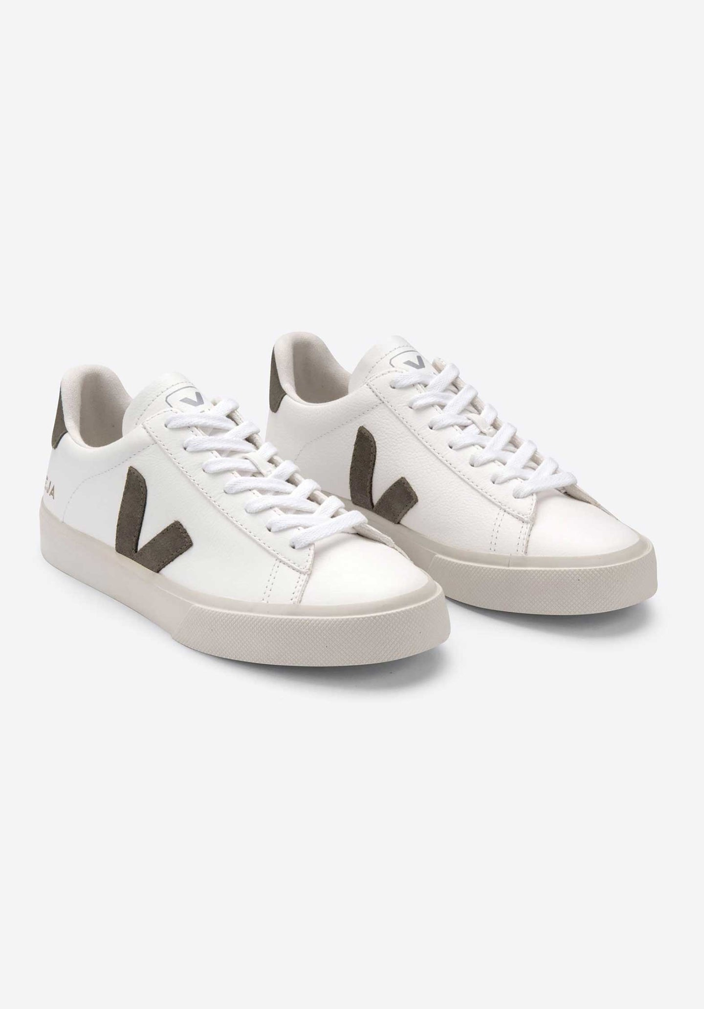 Campo Chromefree Leather Lace Up Sneakers White-Kaki
