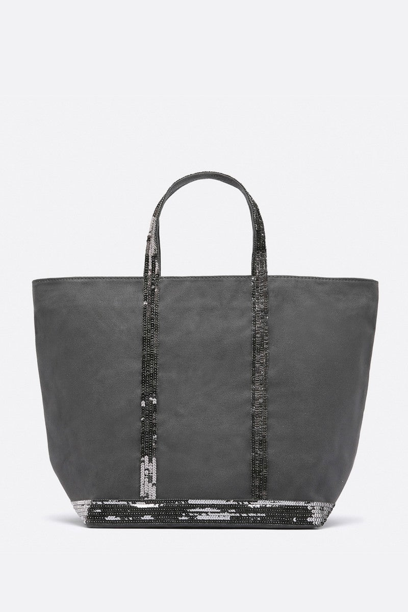 Medium+ Embellished Canvas Tote Bag Anthracite