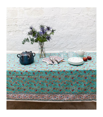 'Anamika' Printed Table Cloth Turquoise