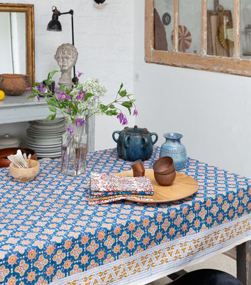 'Antara' Printed Table Cloth Blue