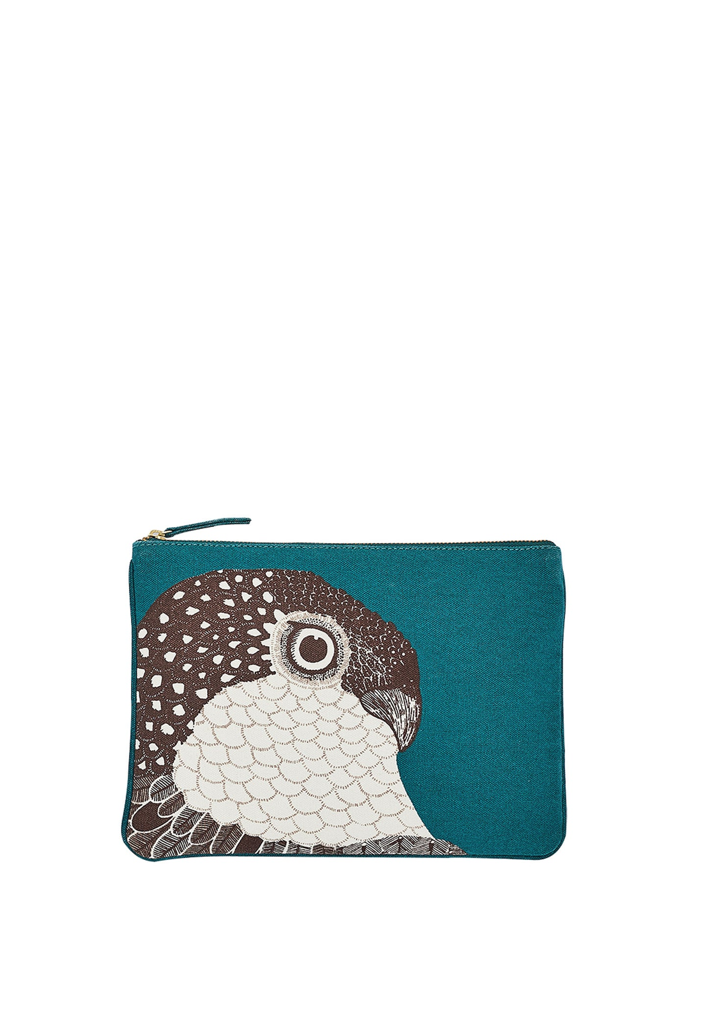 Bird Printed Cotton Canvas Clutch Duck-Blue