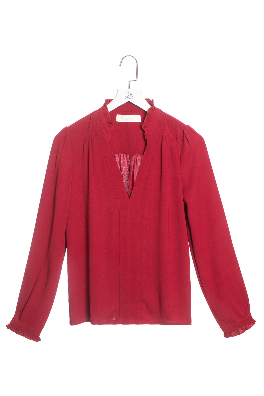 V-neck Ruffled Long-sleeved Shirt