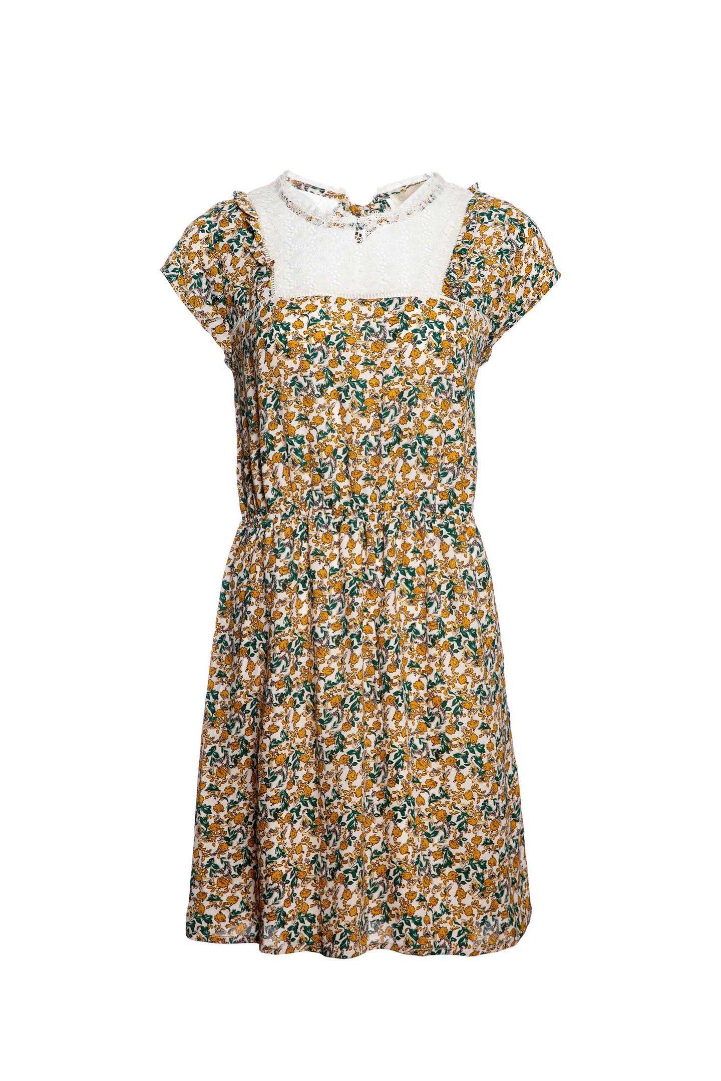Floral Printed Dress With Laced Panel