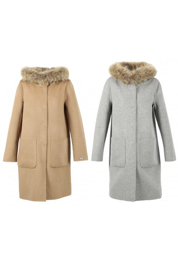 Reversible Fur Trimmed Wool Coat Coffee