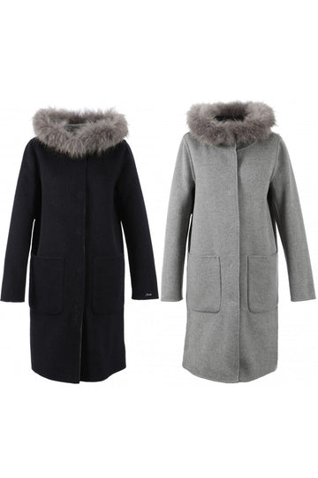 Reversible Fur Trimmed Wool Coat Dark-Blue