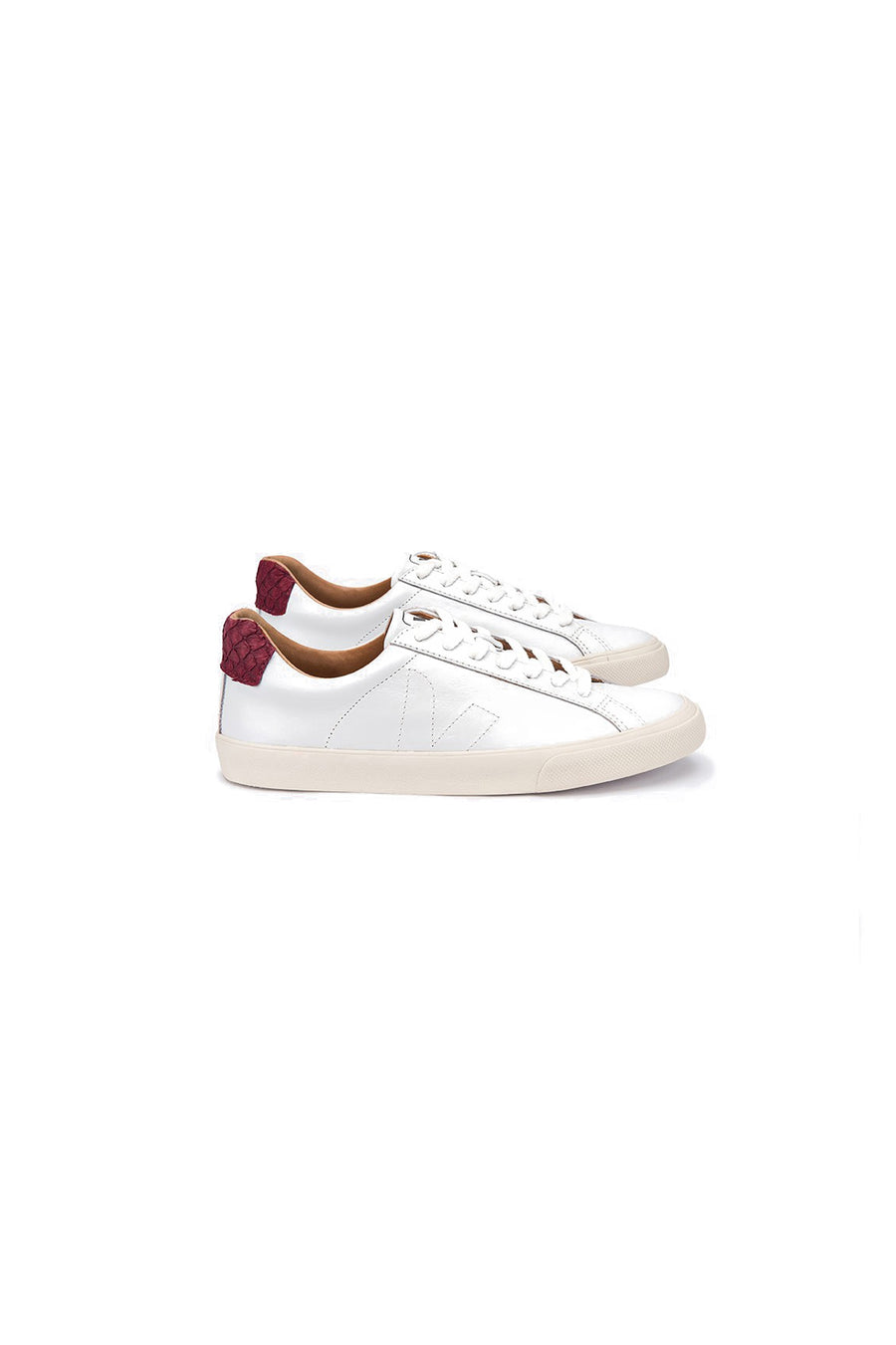 Marsala Leather Sneakers with Tilapia Panel White-Marsala