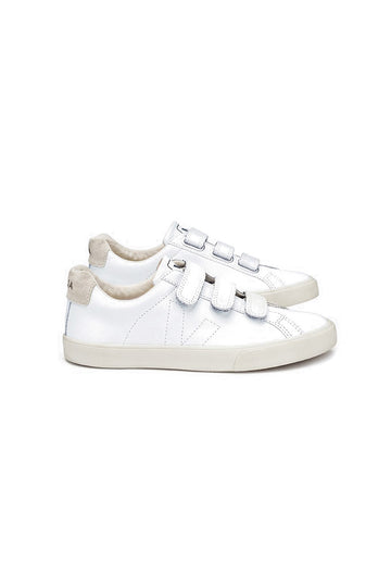Low-top Leather Hook and Loop Sneakers White