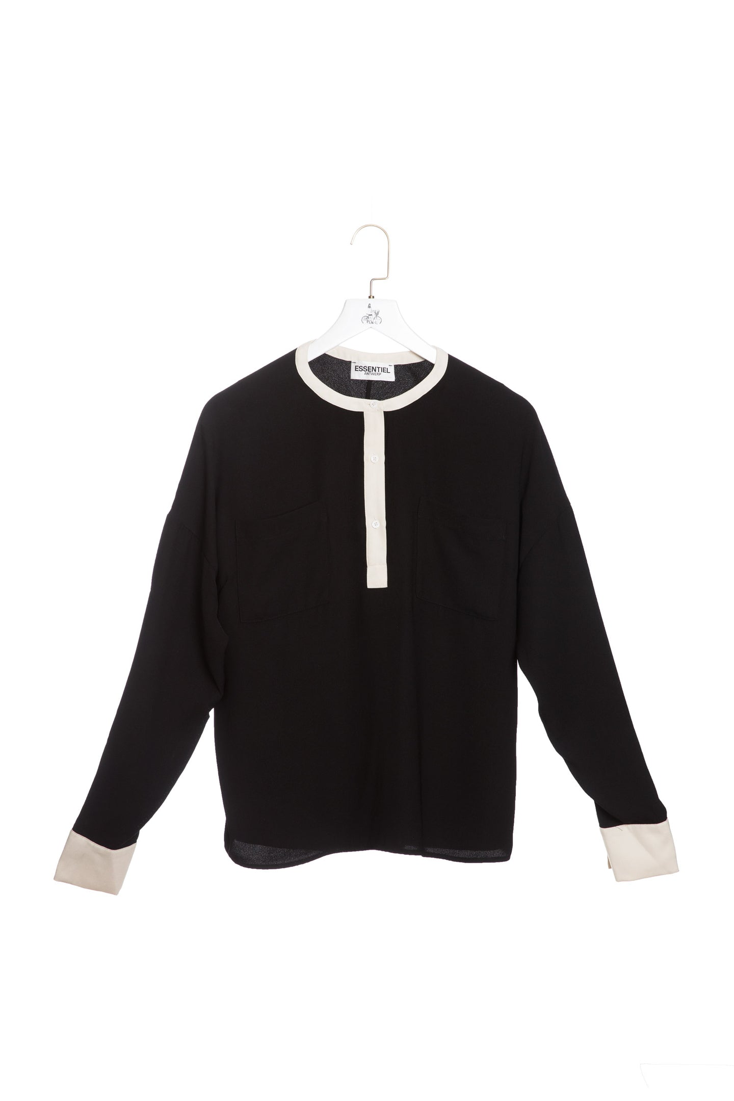 Long Sleeved Contrast Blouse