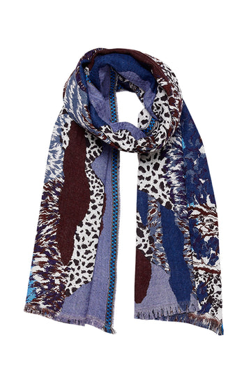 Mountain Printed Scarf (Blue)