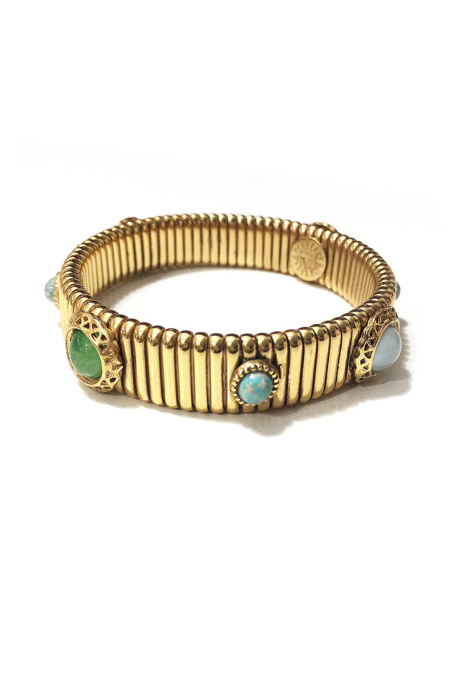 Thick 24K Gold Plated Cuff with Set-in Stones